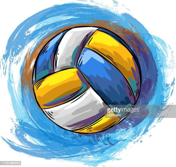 illustrazioni stock, clip art, cartoni animati e icone di tendenza di disegno pallavolo - pallone da pallavolo