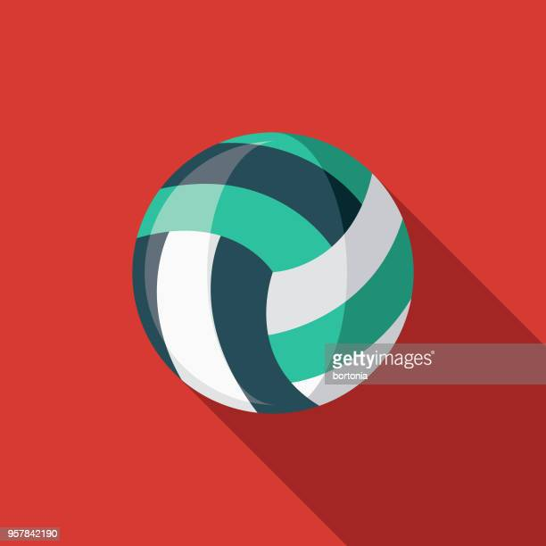 illustrazioni stock, clip art, cartoni animati e icone di tendenza di icona sport di pallavolo flat design con ombra laterale - pallone da pallavolo