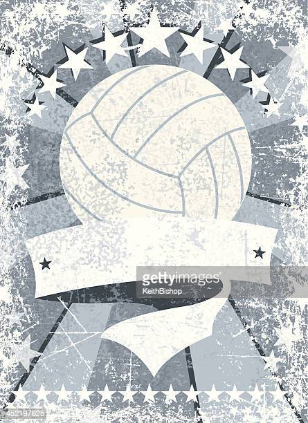 illustrazioni stock, clip art, cartoni animati e icone di tendenza di banner grunge sfondo di pallavolo - pallone da pallavolo