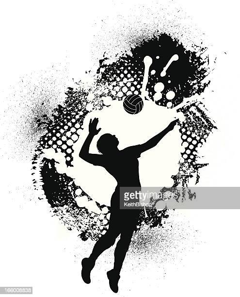 volleyball grunge grafik-mädchen - damen volleyball stock-grafiken, -clipart, -cartoons und -symbole
