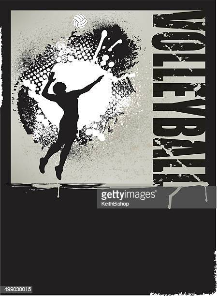 volleyball grunge poster - girls background - volleyball ball stock illustrations
