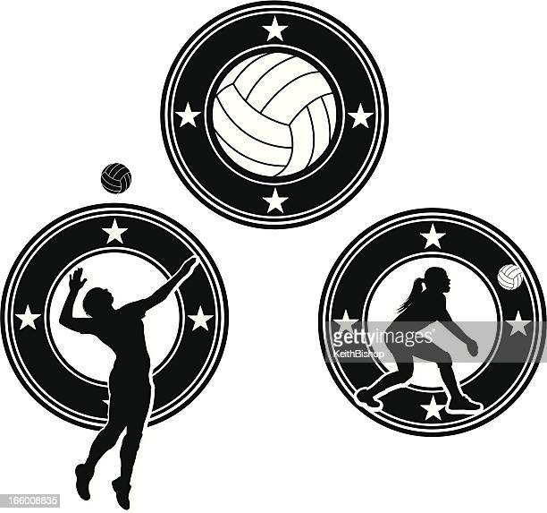 volleyball icon designs - girls - spiked stock illustrations, clip art, cartoons, & icons