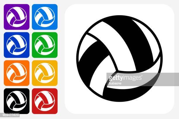 ilustraciones, imágenes clip art, dibujos animados e iconos de stock de grupo de botones de icono de voley plaza - juego de vóleibol
