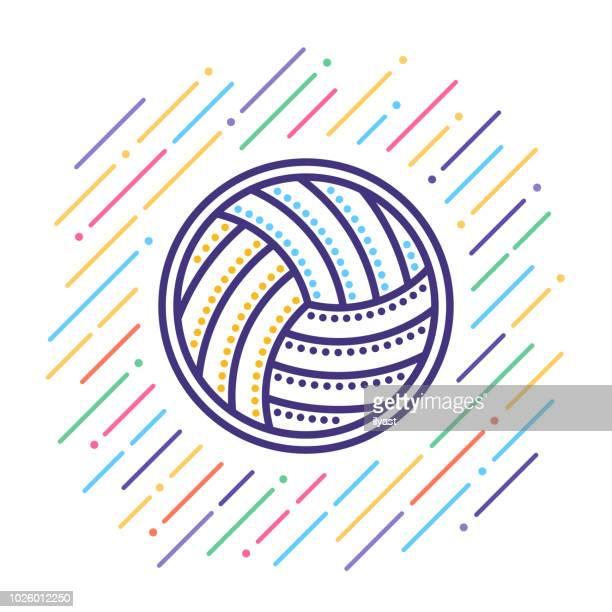 illustrazioni stock, clip art, cartoni animati e icone di tendenza di icona della linea pallavolo - pallone da pallavolo