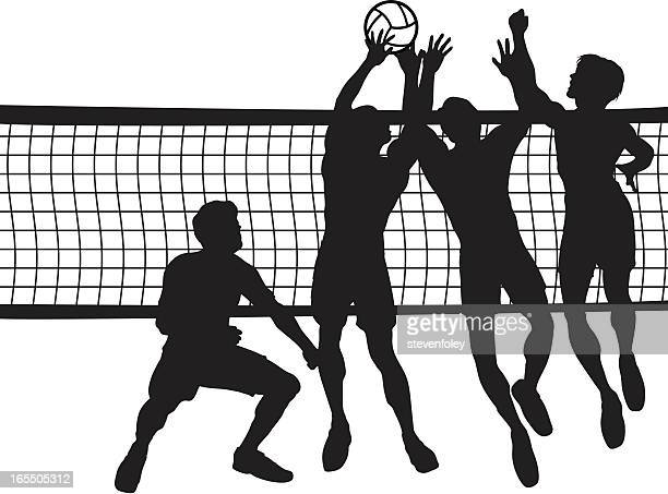ilustraciones, imágenes clip art, dibujos animados e iconos de stock de cancha de voleibol: hombres - vóleibol de playa