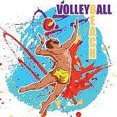 volleyball player. Grunge spot background.