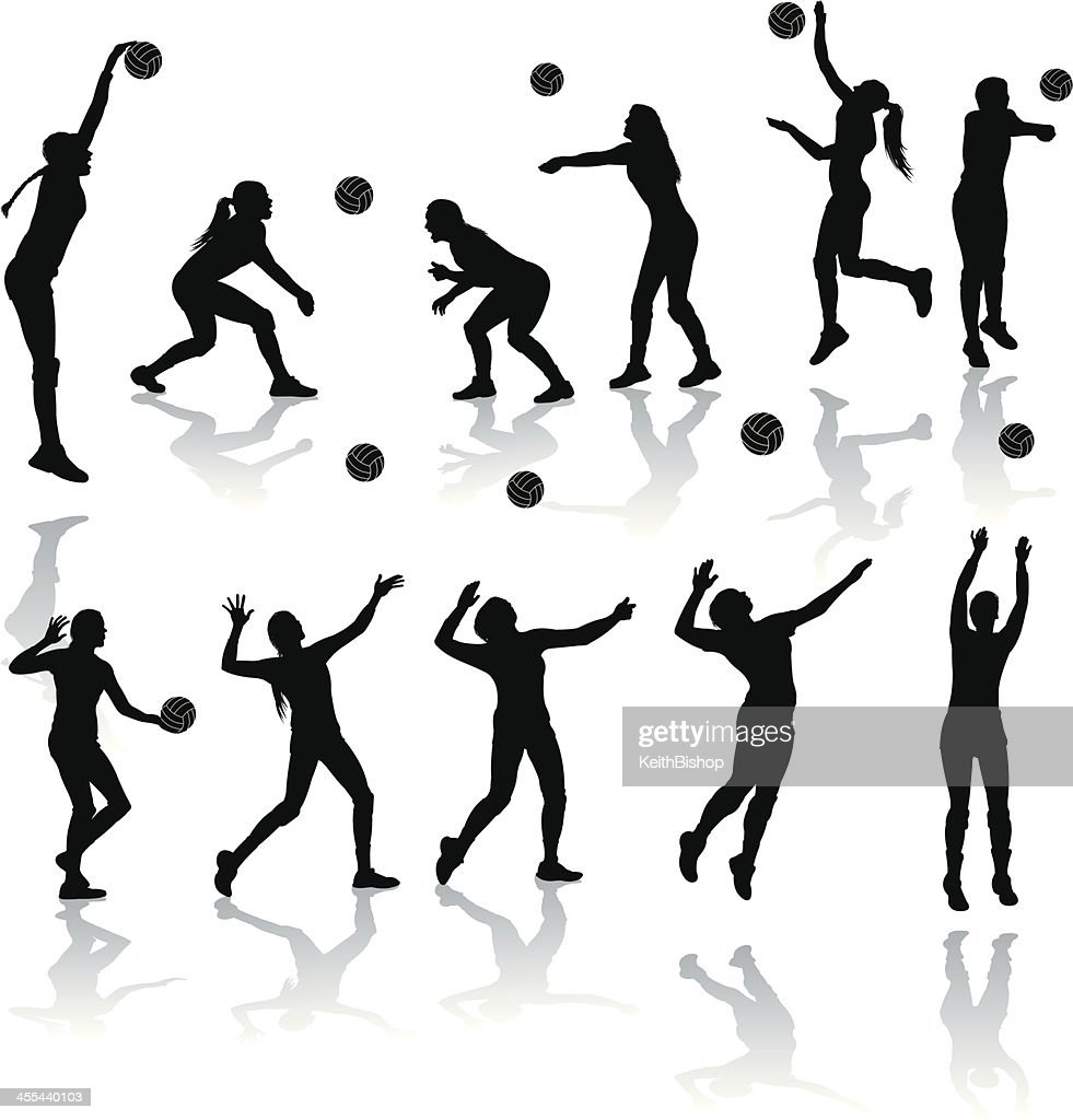 Volleyball Players - Girls : stock illustration