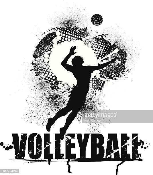 illustrazioni stock, clip art, cartoni animati e icone di tendenza di pallavolo servire grunge immagine-femmina - pallone da pallavolo