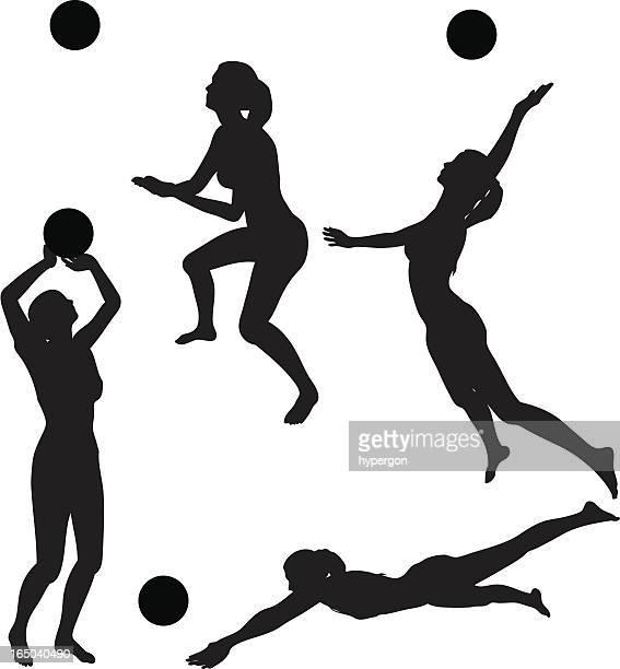 ilustraciones, imágenes clip art, dibujos animados e iconos de stock de voleibol silueta collection (vector jpg - juego de vóleibol
