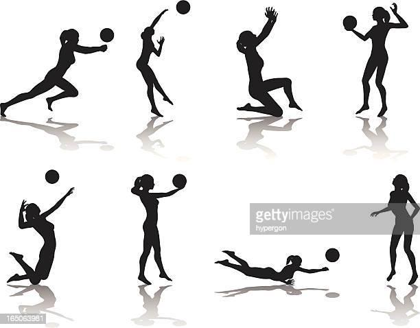 ilustraciones, imágenes clip art, dibujos animados e iconos de stock de colección de silueta de voleibol - vóleibol de playa