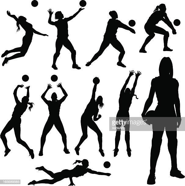 volleyball-silhouetten - volleyball mannschaftssport stock-grafiken, -clipart, -cartoons und -symbole