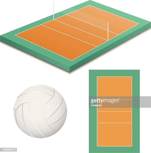 ilustraciones, imágenes clip art, dibujos animados e iconos de stock de cancha de voleibol - cancha futbol