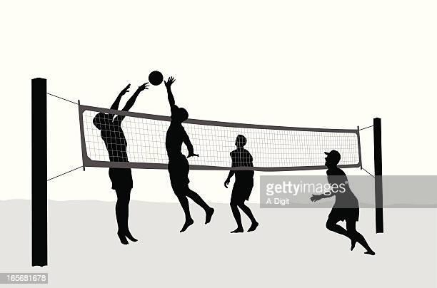 volleyballers - strand volleyball stock-grafiken, -clipart, -cartoons und -symbole