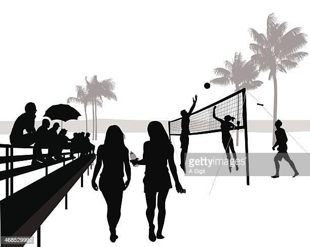 volleyballmatch - strandvolleyball spielerin stock-grafiken, -clipart, -cartoons und -symbole
