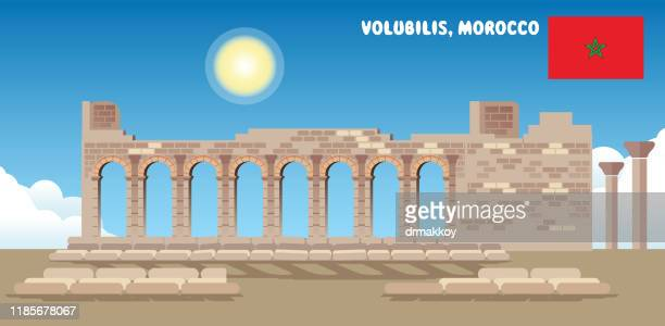 volubilis in morocco - unesco world heritage site stock illustrations
