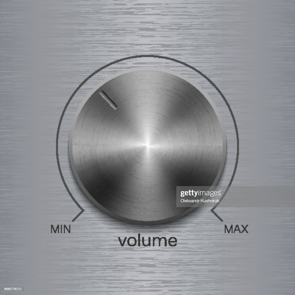 Volume button with dark metal steel brushed texture and line scale isolated on aluminum polished texture background
