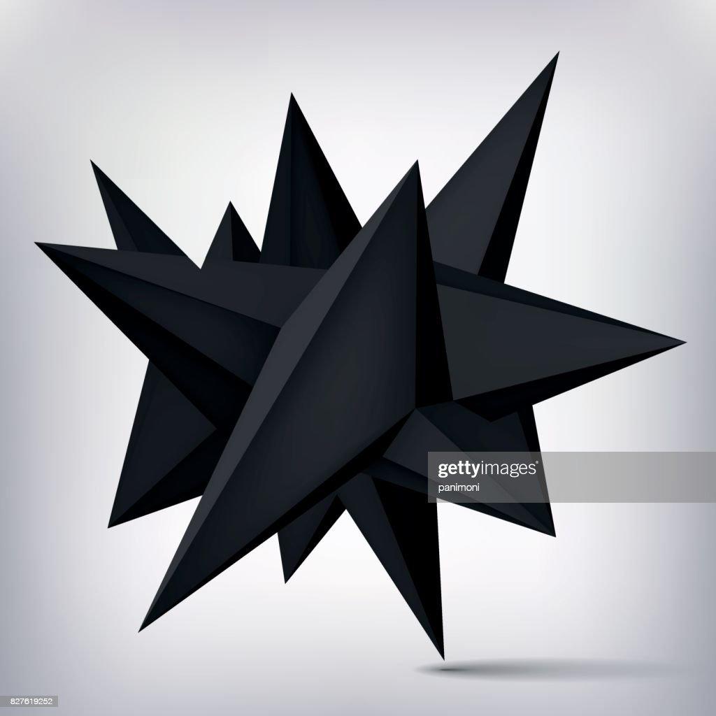 Forme Geometrique De Volume Levitation 3d Noir Objet Sombre De