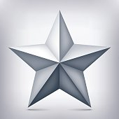 Volume nine-pointed gray star, 3d object, geometry shape, mesh version, abstract vector