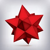 Volume polyhedron red star, 3d object, geometry shape, mesh version, abstract vector element