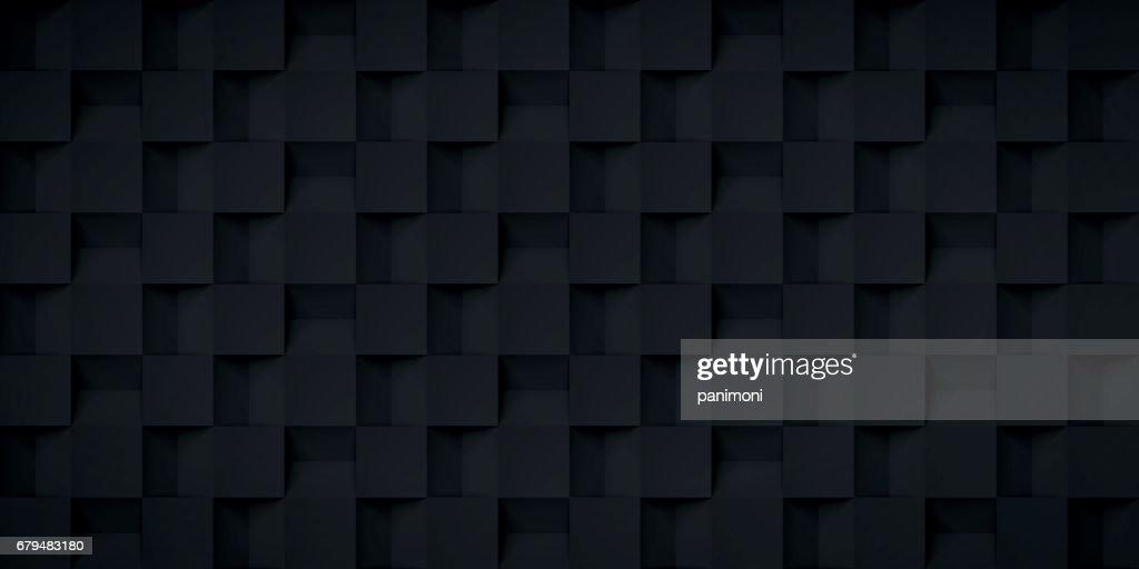 Volume realistic texture, cubes steps, black 3d geometric pattern, design vector dark background