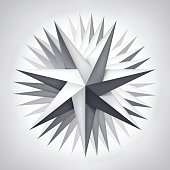 Volume rotation seven-pointed twisted star, 3d object, geometry shape, mesh version, abstract vector