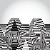 Volumetric 3D pyramid. hexagon. Optical illusion background. Black white lines