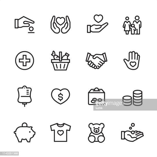 volunteer and charity - outline icon set - charity and relief work stock illustrations