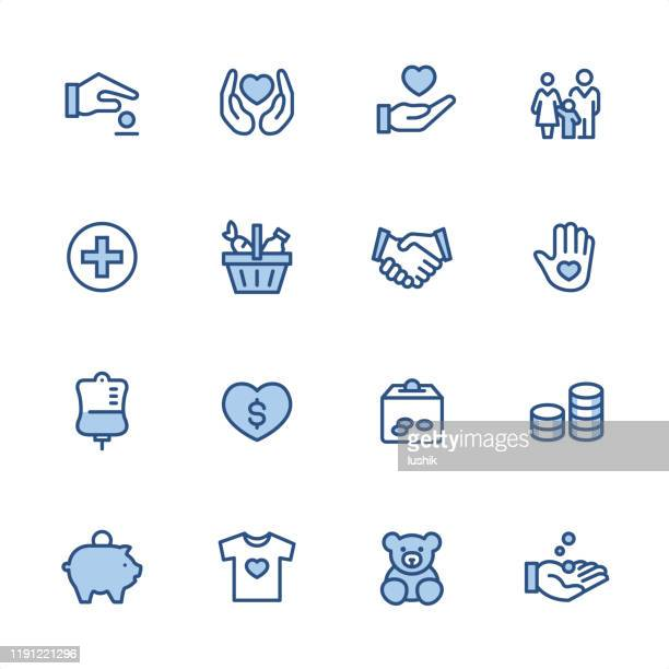 volunteer and charity - pixel perfect blue outline icons - charity benefit stock illustrations