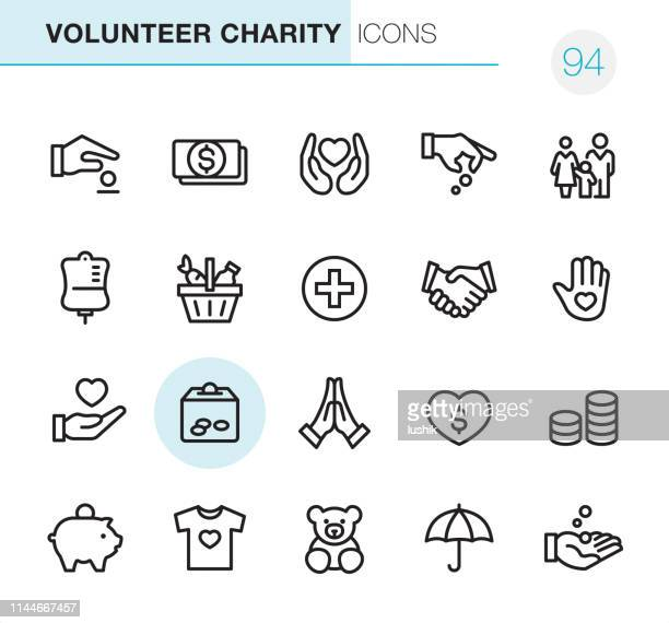 volunteer charity - pixel perfect icons - charitable donation stock illustrations