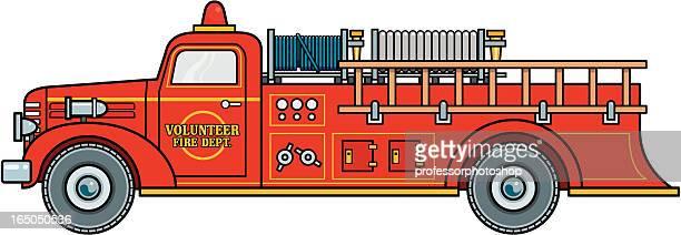 volunteer firetruck - fire engine stock illustrations, clip art, cartoons, & icons