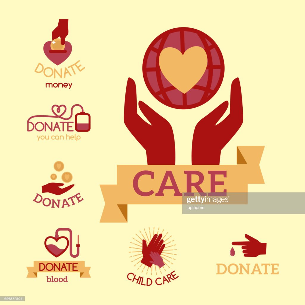 Volunteer red icons charity donation vector set humanitarian awareness hand hope aid support symbols
