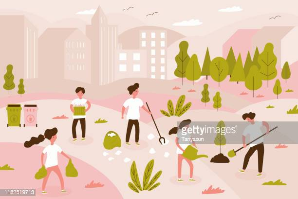 Volunteer team of young man and woman are cleaning garbage on the city park, small people, children planting tree. Vector illustration of volunteering for Social workers concept. Banner template
