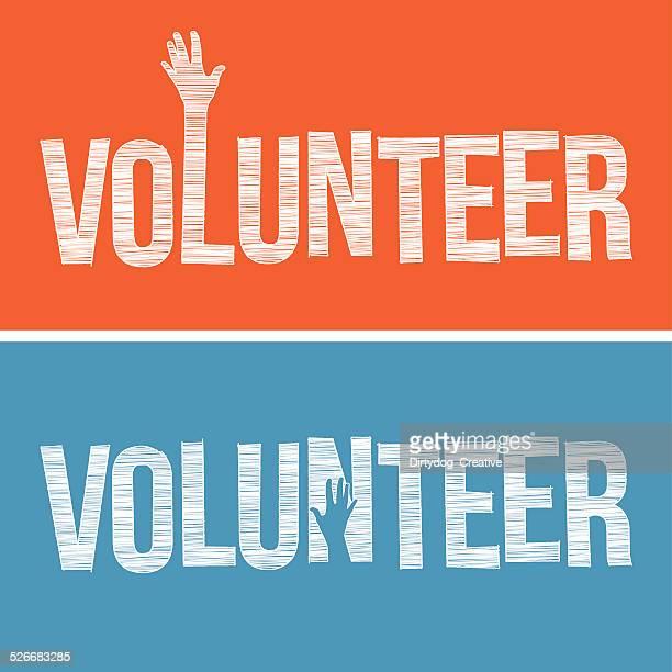 volunteer word in hand drawn style - help single word stock illustrations