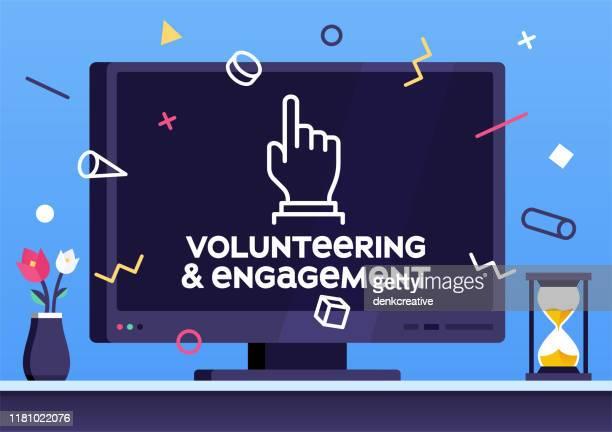 volunteering & engagement modernes design-layout - bildschirmpräsentation stock-grafiken, -clipart, -cartoons und -symbole