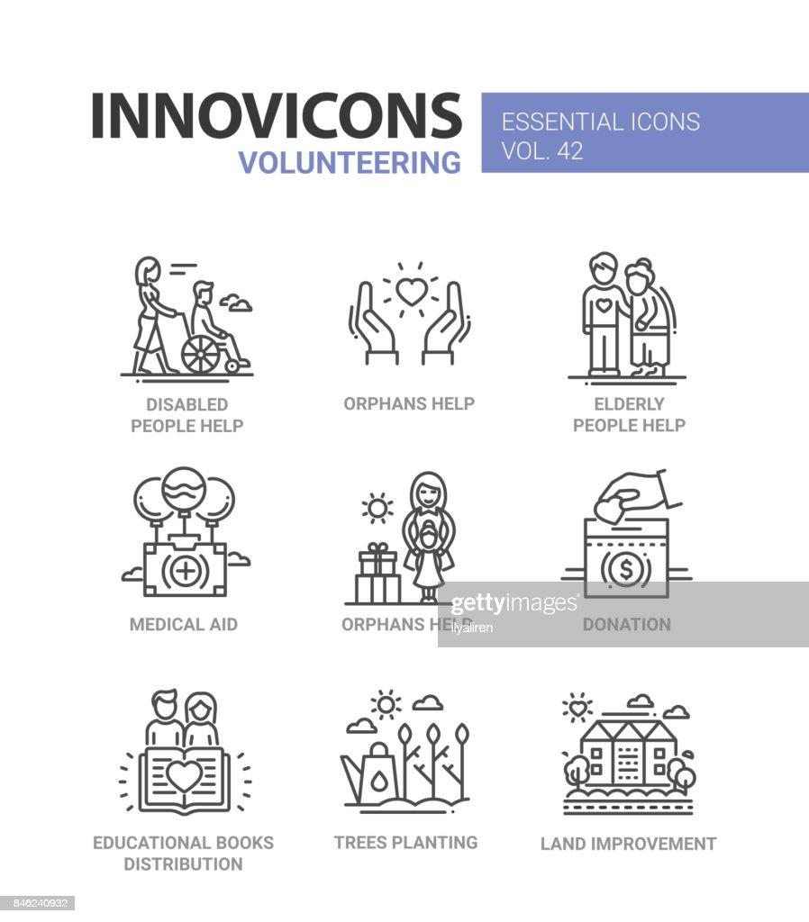 Volunteering - modern vector line design icons set.