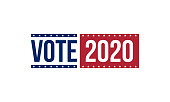 vote 2020 in blue and red colors, vector illustration