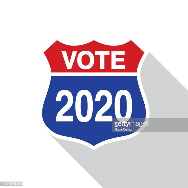 abstimmung 2020 straßenschild - langer schlagschatten design stock-grafiken, -clipart, -cartoons und -symbole