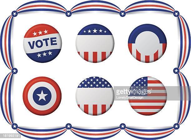 vote badges - brooch stock illustrations