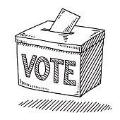 Vote Ballot Box Drawing