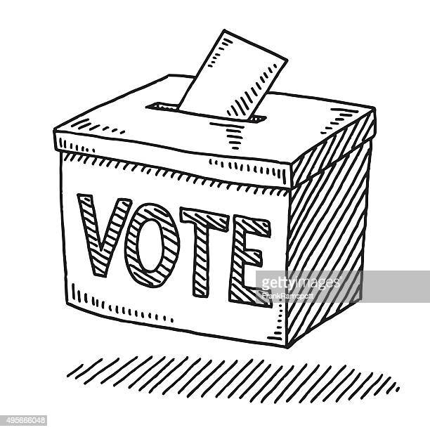 vote ballot box drawing - politics illustration stock illustrations