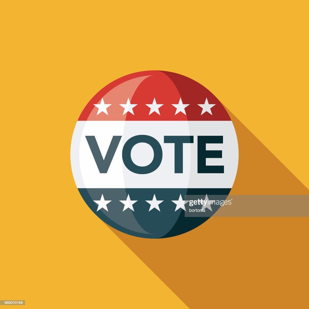 Abstimmung Schaltflächensymbol flache Bauweise Wahlen mit Seite Schatten : Stock-Illustration
