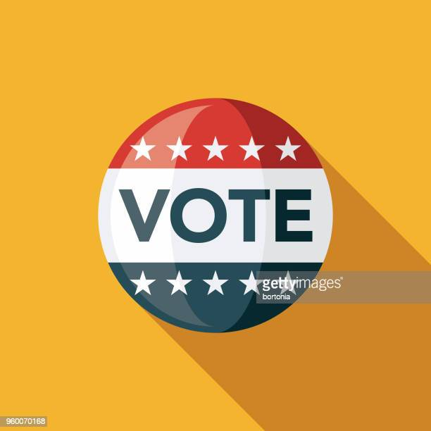 vote button flat design elections icon with side shadow - governmental occupation stock illustrations, clip art, cartoons, & icons