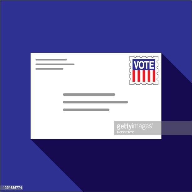 vote by mail envelope - voting by mail stock illustrations