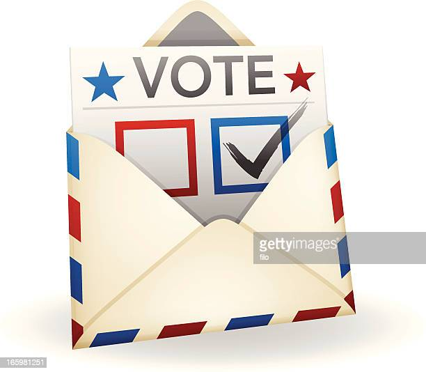vote by mail - voting ballot stock illustrations