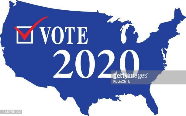 vote check box 2020 usa map - election stock illustrations