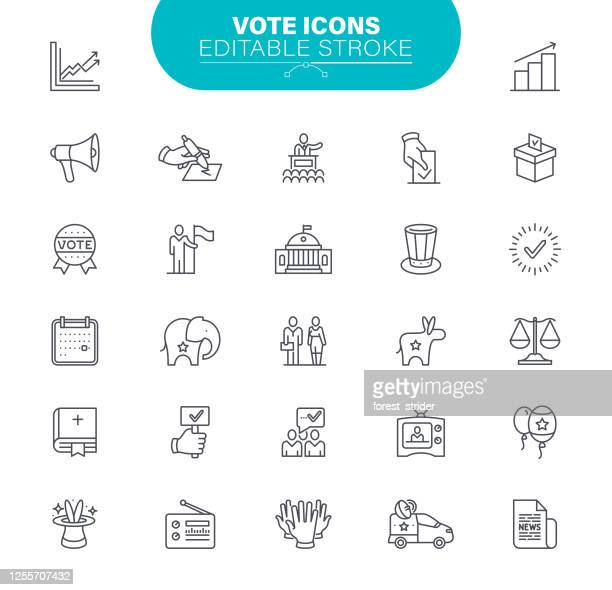 vote editable stroke icons. set contains such icon ballot box, checkbox, donkey, elephant, illustration - politics icon stock illustrations