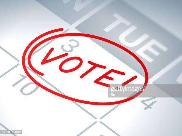 投票選挙カレンダー アラーム - 昼間点のイラスト素材/クリップアート素材/マンガ素材/アイコン素材