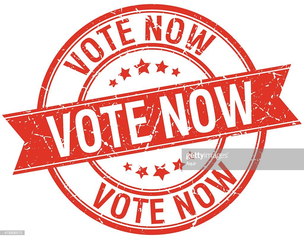 vote now grunge retro red isolated ribbon stamp
