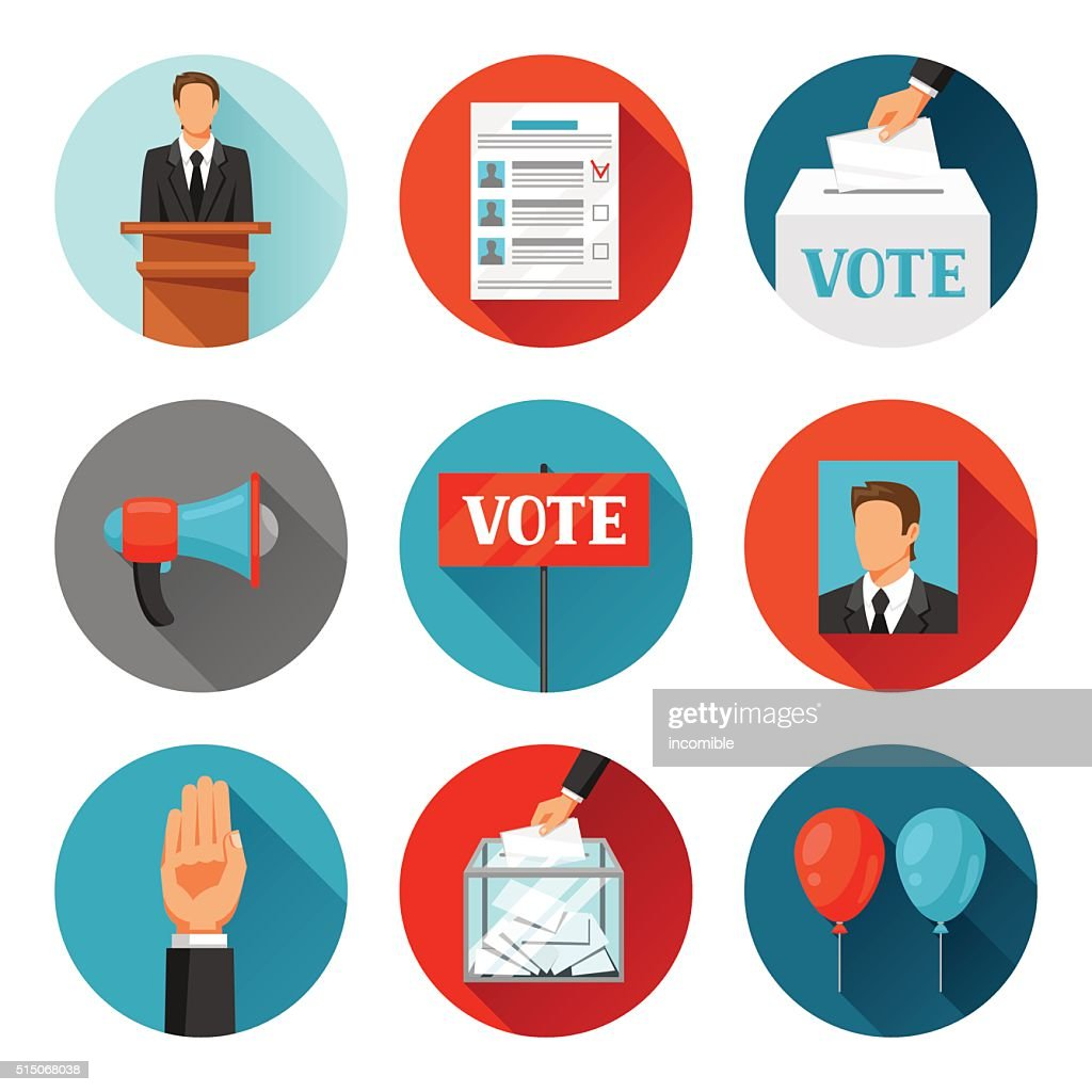 Vote political elections icons. Illustrations for campaign leaflets, web sites