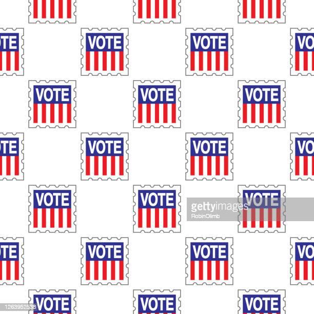 stockillustraties, clipart, cartoons en iconen met stem postzegel naadloos patroon - amerikaanse presidentsverkiezingen
